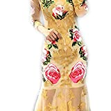 Venetia Morton Fashion Summer Runway Designer Dress Women Long Sleeve Noble Tulle Gold Line Floral Embroidery Sequins Mermaid Dress Multi L