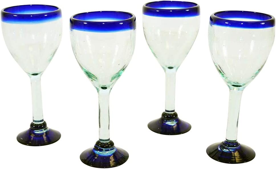 Set of 4, Handmade Mexican Blue Rimmed Wine Glasses-12 Ounces
