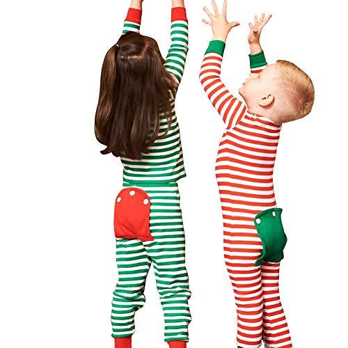 chinatera Newborn Baby Pajamas Rompers Christmas Striped Sleepwear Homewear Long Sleeve Tops Shirt Pants Clothes Set