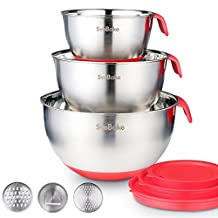 SveBake Mixing Bowls - Stainless Steel Mixing Bowl Set with Handles, Pour Spouts, Non-Slip Base and Graters, Set of 3, Red