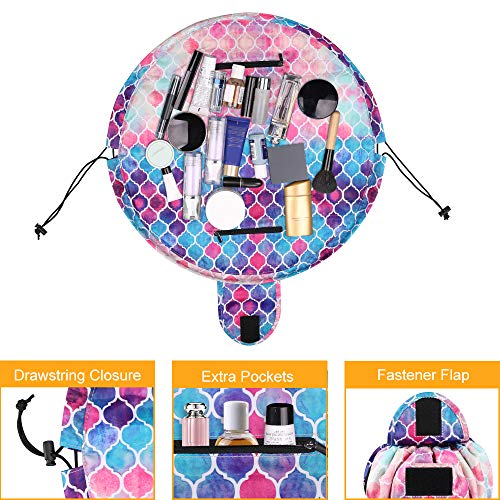 Cosmetic Bag Lazy Makeup Organizer, Fintie Waterproof Portable Drawstring Large Capacity Travel Toiletry Storage Pouch Case for Women Girls, Moroccan Love by Fintie (Image #3)