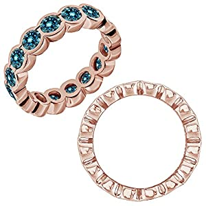 2.75 Carat Blue Diamond Beautiful Bezel Full Eternity Anniversary Band Ring 14K Rose Gold