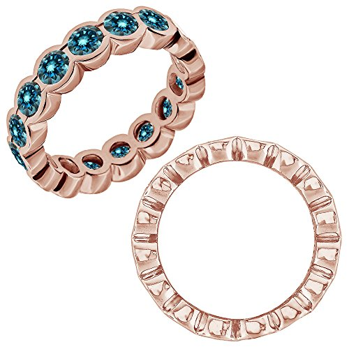 0.25 Carat Blue Diamond Beautiful Bezel Full Eternity Anniversary Band Ring 14K Rose Gold (Bezel Full 1/4 Diamond Ct)