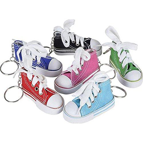 Price comparison product image Lot of 24 Canvas Sneaker Tennis Shoe Chucks Keychain Party Favors