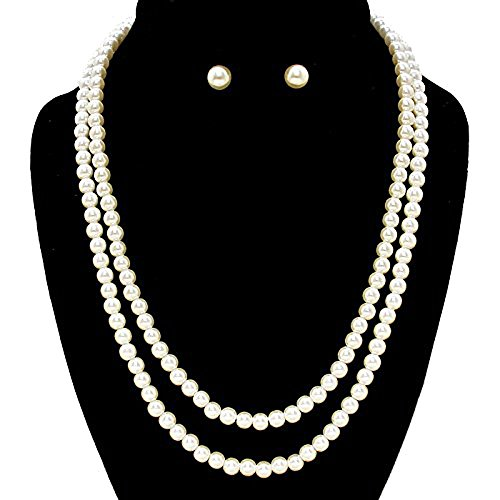 [Double Strand Faux Knotted Pearl Necklace Gatsby Bridal Jewelry Long Flapper Ivory Necklace and Earrings Set On String] (Knotted Pearl Strand)