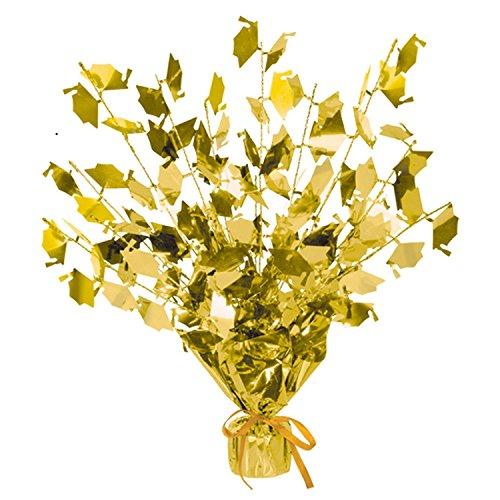 Club Pack of 12 Gold Foil Spray Graduate Cap Gleam 'N Burst Centerpieces 15