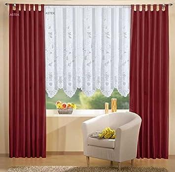 Store Vorhang in der Farbe bordeaux // weiß Gardine Deko