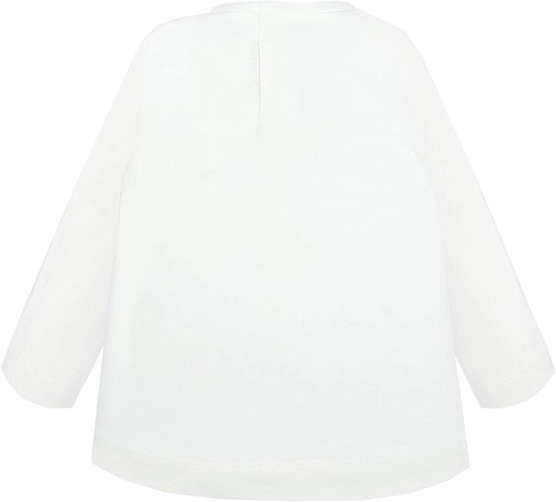 Mayoral 2.016 Baby M/ädchen T-Shirt Langarmshirt mit Glitzermotiv naturwei/ß gepunktet M/ädchen mit Brille