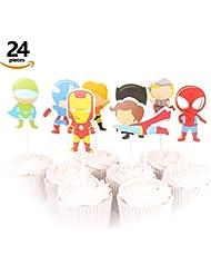 KUDES 24 Pieces Cartoon Superhero Avengers Cupcake Topper Picks for Boy Children Kids Birthday Party Cake Decoration Supplies