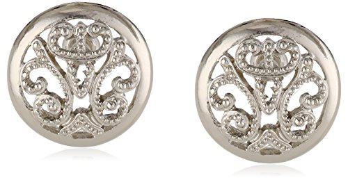 "1928 Jewelry ""Vintage Lace"" Silver-Tone Round Filigree Button Earrings"