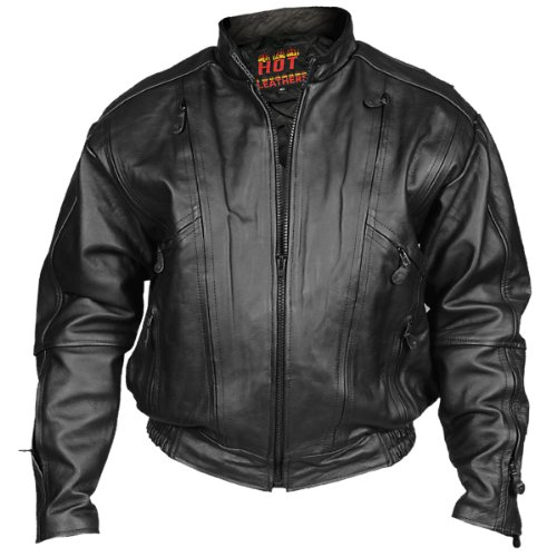 Hot Leathers Men's Vented Motorcycle Jacket (Black, Size 48)