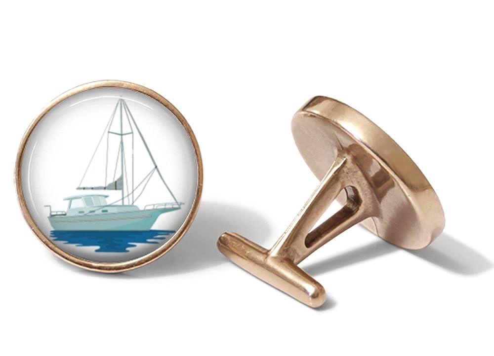 Solid Bronze Nautical Sailboat Cufflinks