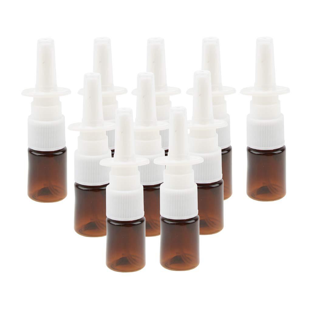 MagiDeal 10 Piezas de Aceites Esenciales Cuentagotas Botellas de Aromaterapia Por 5 Ml - marrón