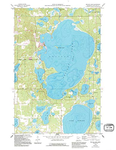 YellowMaps Pelican Lake MN topo map, 1:24000 Scale, 7.5 X 7.5 Minute, Historical, 1959, Updated 1995, 27.28 x 21.21 in - Paper