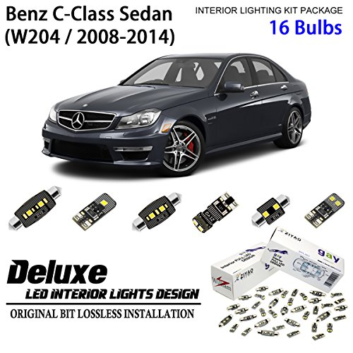 ZIYO ZPL5041 -(16 Bulbs) LED Interior Light Kit 6000K Xenon White Dome Lamps For W204 2008-2014 Mercedes-Benz C-Class Sedan (C-class Mercedes Sedan)