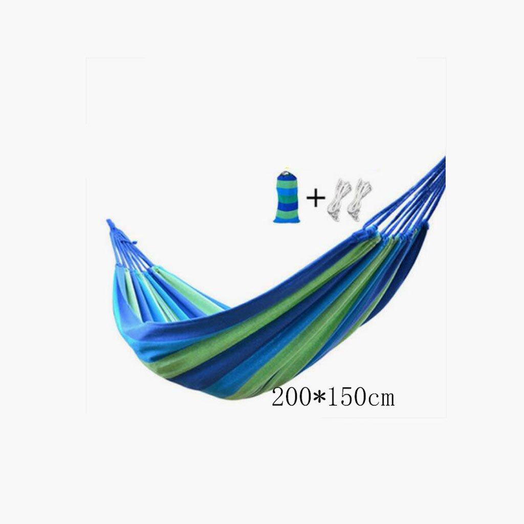 Hängematte Outdoor Hängematte Freizeitcamping Schaukel Hängematte Balkon Hängematte Camping tragbare Hängematte blaue Leinwand gestreifte Hängematte (200  150cm)