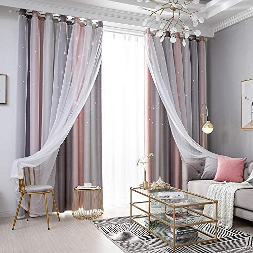 Decdeal Star Curtains Stars Blackout Curtain