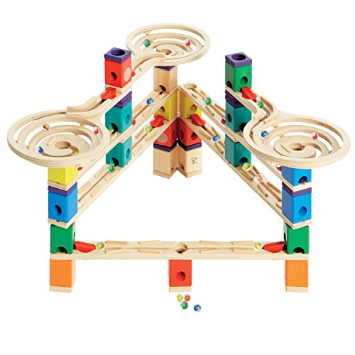 Hape Quadrilla Wooden Marble Run Construction - Vertigo - Quality Time Playing Together Wooden Safe Play - Smart Play for Smart Families (Quadrilla Twist Marble)
