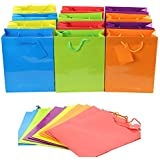 "Adorox (12 Assorted Gift Bags) Large or Small Bright Neon Colored Party Present Paper Gift Bags Birthday Wedding All Occasion (9""H x 7.5""L x 3.5""W)"