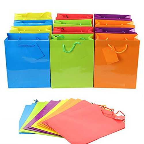 Adorox 24 Assorted (9 x 7.5 x 3.5) Bright Neon Colored Paper Gift Bags Birthday Wedding All Occasion