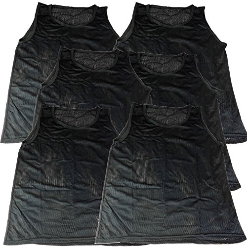 BlueDot Trading Adult Sports Pinnies 6 Scrimmage Training Vests, Black