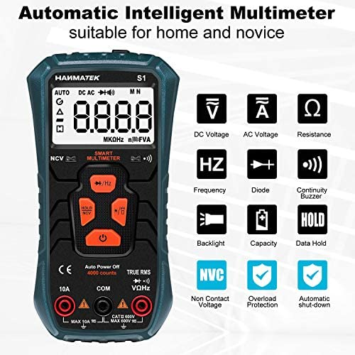 51t7QYAQYIL. AC HANMATEK Multimeter Auto-Ranging Digital Multimeter, Electrical Tester with NCV,True RMS 4000 Counts AC/DC Voltmeter Ammeter Ohmmeter, Resistance, Live Line Digital Testers with LCD Backlight    Product Description
