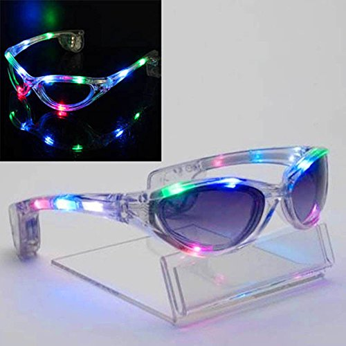 MAZIMARK--Colorful LED Light Up Glasses Blink Sunglasses Rave Party Xmas Supplies Hot - Sunglass Blink