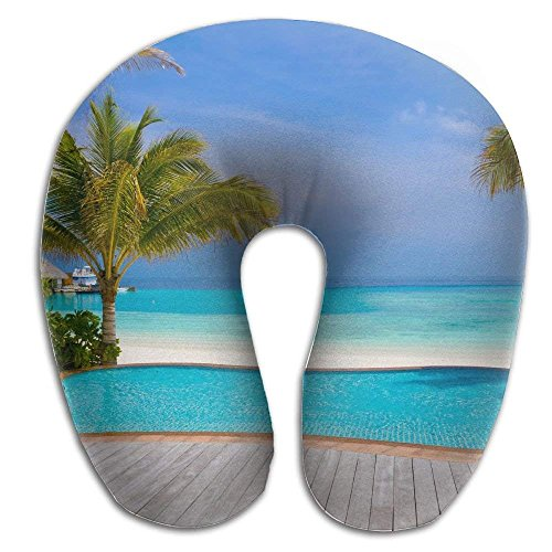 Wood Pool Beach Plam Print U Shaped Pillow Memory Foam Neck Pillow for Travel and Relief Neck Pain Fashion Super Soft Cervical Pillows with Resilient Material Relex Pollow by SHoelska (Image #1)