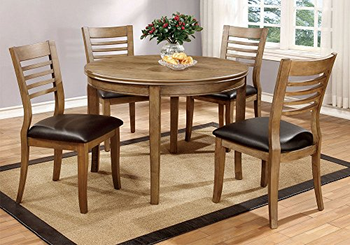 "1PerfectChoice Dwight 5 pcs 48""D Round Dining Table PU Seat Side Chairs Solid Wood Natural Tone"