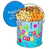 kettle corn gift basket - Happy Birthday Popcorn Tin (Traditional Mix, 1 Gallon)