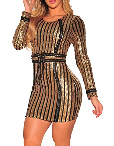 Domple Women's Gold Sparkle Sexy Sleeve Dress Bodycon Long Sequins Clubwear 7fxnrw7q