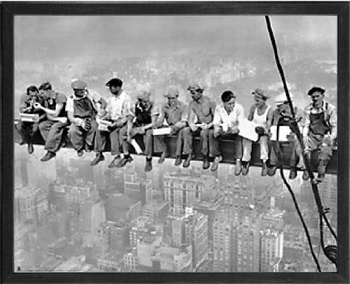 (Lunch atop a Skyscraper, New York. Photograph Taken in 1932 by Charles C. Ebbets. Custom Made Real Wood Modern Charcoal Black Frame (21 1/8 x 17 1/8) )