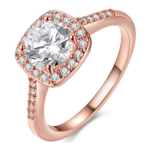 Haoze Pretty Cut 18K Rose Gold Plated Shining Crystal Engagement Rings for Her Wedding Gift Ring 5 - Princess Cut Rhinestone