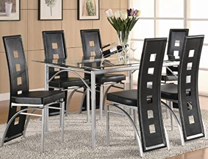 Gentil 7pc Dining Set With Glass Top Metal Legs Matte Silver Finish Black
