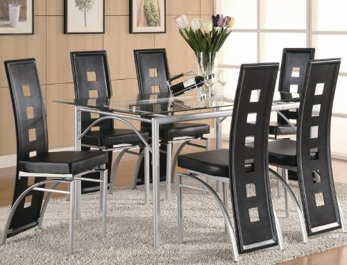 7pc Dining Set with Glass Top Metal legs Matte Silver Finish Black
