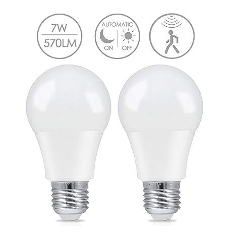 2x Bombilla LED E27 con Sensor de Movimiento, LAKES Luz de ...