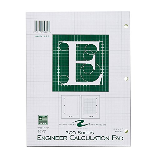 Roaring Spring Engineering Computation Pad 8.5 x 11 Inches 200 Sheets Green Paper Enclosed Grid on Back of each Sheet 3-Hole Punched (95389)