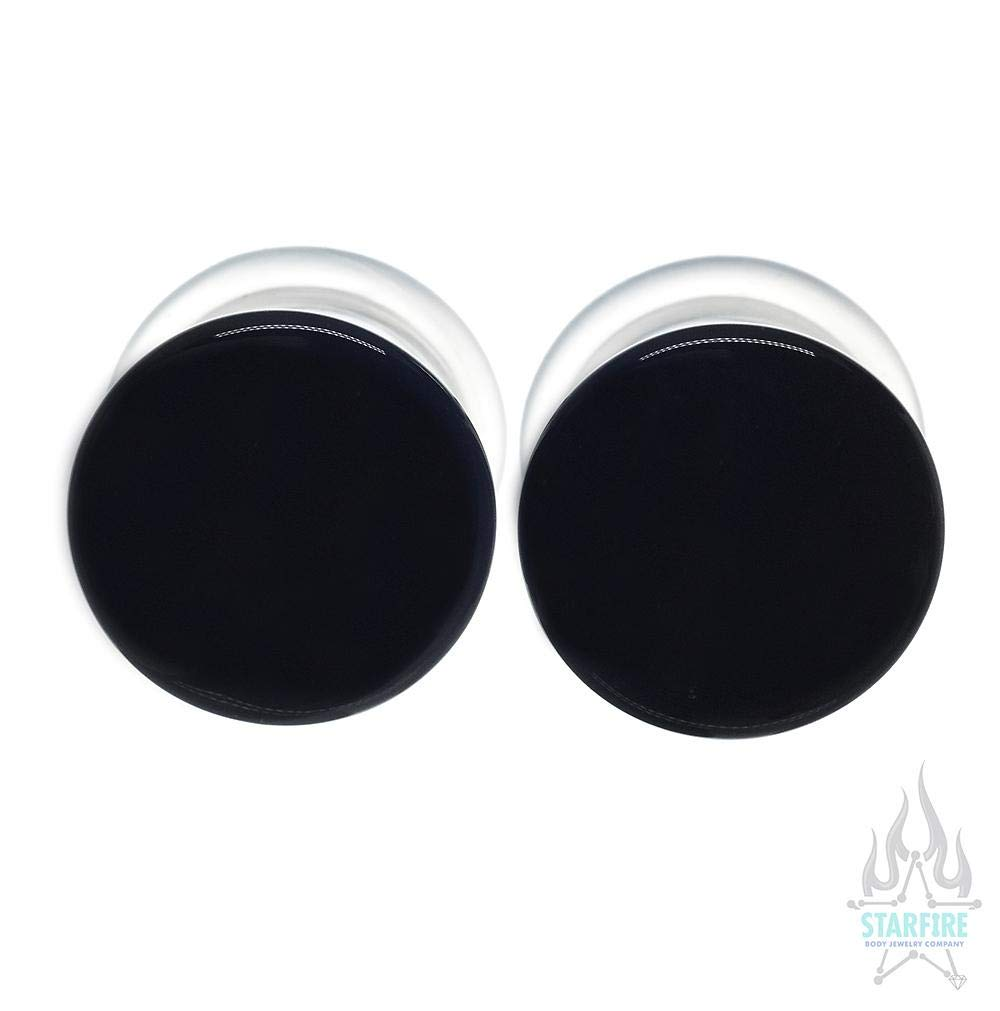 Gorilla Glass Single-Flared Glass Colorfront Plugs - Black. 1'' Single Flare with Groove