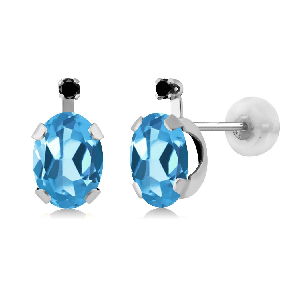Gem Stone King 0.96 Ct Round White Topaz Swiss Blue Topaz 14K Yellow Gold Earrings