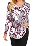 Ladies Printed Blouse Tops Long Sleeve Swing Tunic Shirts Red M