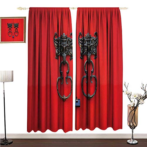 - Simple Curtain Rustic Decor Collection Bat Door Knocker on Door Entrance Design and Antique Ethnic Cultural Artwork Pattern W120 xL84 Simple Style