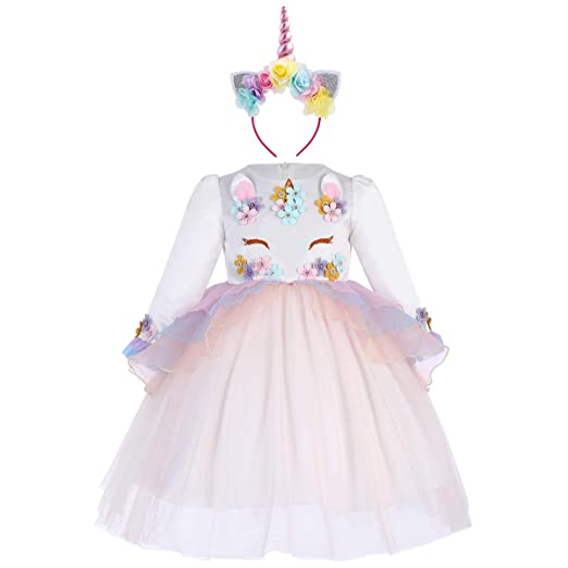 5acbaf1a1bd5 Amazon.com: Baby Flower Girl Long Sleeve Unicorn Pageant Princess Dress Up  Wedding Birthday Party Costume Evening Dance Gown: Clothing