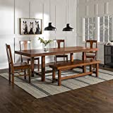 Walker Edison Furniture Company Rustic Farmhouse Rectangle Wood Dining Room Table Set with Leaf Extension, Brown Oak