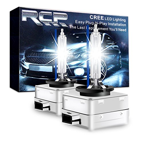 Blue Xenon Hid Headlights Lights - RCP - D1S8 - (A Pair) D1S/ D1R 8000K Xenon HID Replacement Bulb Ice Blue Metal Stents Base 12V Car Headlight Lamps Head Lights 35W