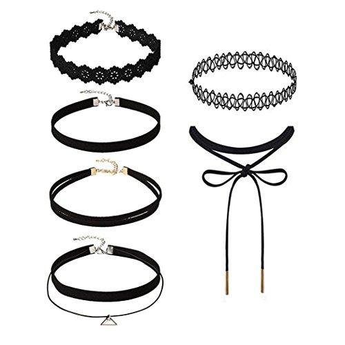 Hunputa 6 Pieces Choker Necklace Set Stretch Black - Change Lingerie