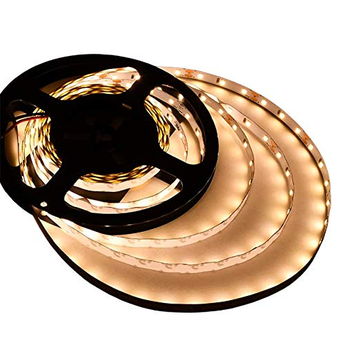 LEDwholesalers UL 16.4-FT Flexible LED Light Strip with 300xSMD2835 12-Volt 24-Watt, Warm White, 20105WW