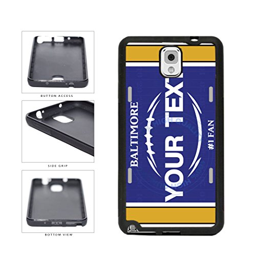 (BleuReign(TM) Personalized Custom Name Football Baltimore License Plate TPU RUBBER SILICONE Phone Case Back Cover For Samsung Galaxy Note III 3)