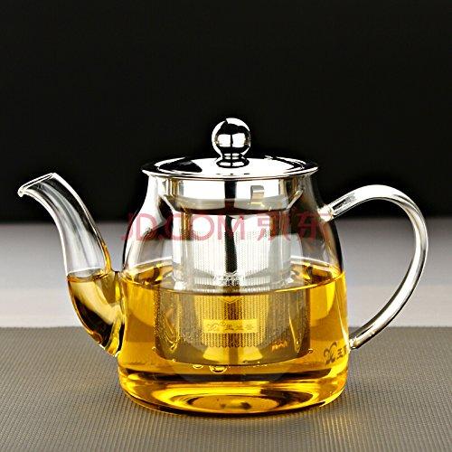 Tetera de 600 ml, de cristal, con infusor extraíble, segura para calentar en el microondas y hornillo, colador de té, para té de hojas y té de bolsa