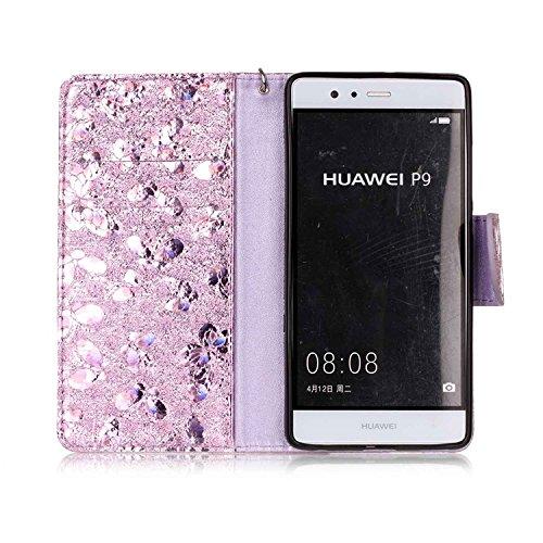 Vandot para Huawei P9 PU Funda Serie Bolsa Modelo Colorido con Bonito Hermoso Patrón de Impresión Dibujo Monedero de la Cartera de la Cubierta Móvil del Bolso del Teléfono Móvil del Proteja la piel co LSFD 05