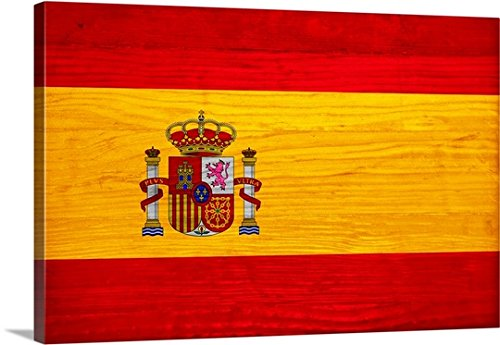 Canvas On Demand Philippe Hugonnard Premium Thick-Wrap Canvas Wall Art Print, 48'' x 32'', entitled 'Wood Spain Flag, Flags Of The World Series' by Canvas on Demand